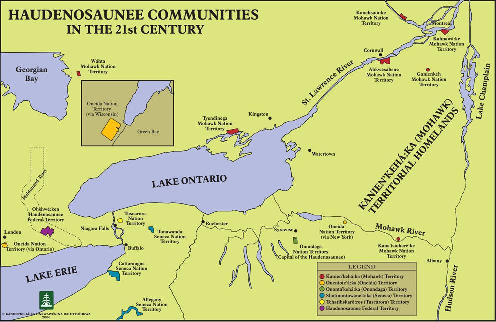 Iroquois Confederacy Map Haudenosaunee Communities
